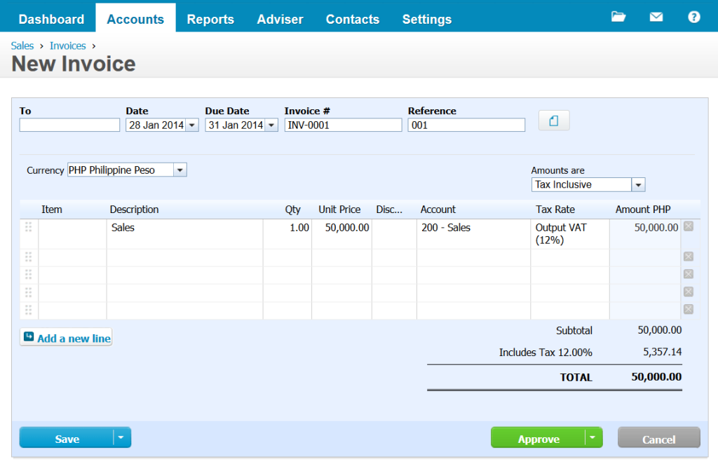 Xero New Invoice