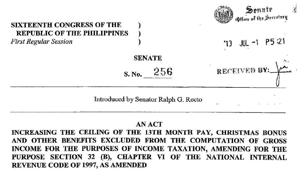Increase In The Ceiling Of 13th Month Pay And Other Benefits Exempted From Income Tax